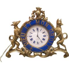 Antique Gilt Bronze table clock adorned with blue enamel signed Jean Morel, first half 19th century -- Fabulous 'blue' vintage and antique finds for home decor on Ruby Lane. www.rubylane.com #rubylane