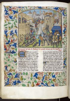 Taking of Ribodane from BL Royal 14 E IV, f. of the taking of Ribodane. Image taken from f. of Recueil des croniques d'Engleterre. Written in French.