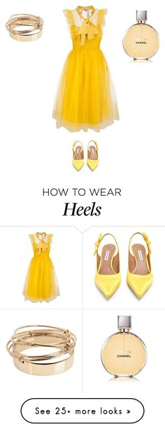 A fashion look from March 2018 featuring yellow dress, sling back pumps and valentino jewelry. Browse and shop related looks. How To Wear Heels, What To Wear, Tabitha Simmons, Yellow Dress, Style Me, Fashion Looks, Classy, Couture, Elegant