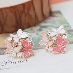 Cute three butterflies without pierced ears clip , ear clip non pierced earrings for girls brincos