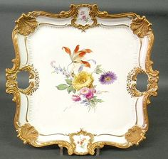 """Large square Meissen porcelain tray with floral and gilt decoration. 16"""""""