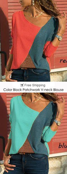 14d989f03e2 S-5XL Casual Women Color Patchwork Asymmetrical Collar Long Sleeve