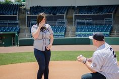 Baseball Themed Proposal/Engagement Session #sportswedding #baseballwedding