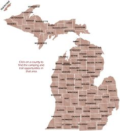 Michigan State Camping by County Map