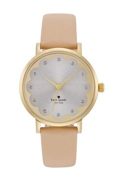 kate spade new york 'metro' scallop dial leather strap watch, 34mm | Nordstrom
