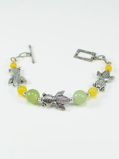 "Bracelet 1080, Don't Be Koi !You""ll love this antique silver, sage green and sunny yellow bracelet"