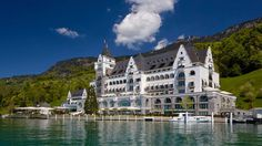 Lake Lucerne is considered to have the greatest scenic diversity in Switzerland, a natural beauty famed by the grand hotels, Rigi mountains & slow pace of life. Lakeside Hotel, Seen, Hotel Reservations, Park Hotel, Grand Hotel, Lake View, Hotels And Resorts, Luxury Travel, Travel Inspiration