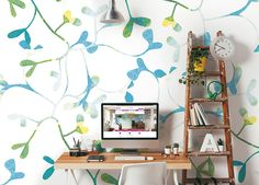 ohpopsi Photo Wallpapers & Ready Made Wall Murals Bedroom Wallpaper Murals, Office Wallpaper, Feature Wallpaper, Photo Wallpaper, Wall Wallpaper, Wall Murals, Study Rooms, Watercolor Design, Paint Designs