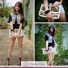 Adoramos o Look total jeans da lindíssima @Jana Make com a Bolsa transparente da loja !!! http://www.charmedalu.com.br/?s=bolsa+transparente+dupla&post_type=product