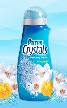 Purex Crystals - Fresh Spring Waters scent. These 87% natural crystals go in at the start of the wash, so they spend more time infusing laundry with long-lasting spring freshness. #ScentsationalSpringWithPurex