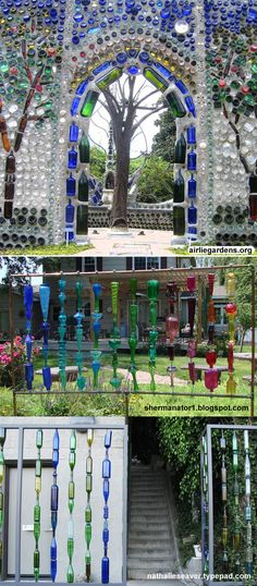 Colorful glass bottle walls - make a fence, trellis, or entire building