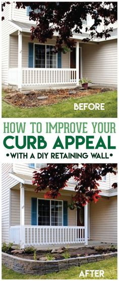 Learn how to make a retaining wall to drastically improve your curb appeal in the easiest way in just a weekend WITHOUT needing professionals!
