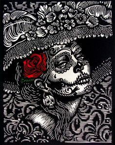 """La Llorona"" is an original limited edition Linocut print x printed on gray BFK Rives paper. Linocut Prints, Printmaking, Lettering, Sugar Skulls, Tracking Number, 3 Weeks, Goddesses, Delivery, Ship"