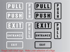 """Push Pull Entrance Exit Vinyl Sticker Self Adhesive Signs for doors, 2""""x5"""""""