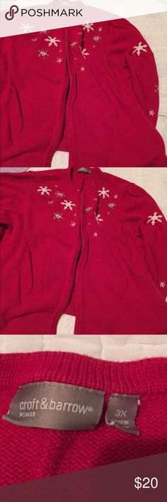 Sweater.. Red snowflake sweater. Normal wear but in good condition..  Zipper works good. No stains or tears.. croft & barrow Sweaters Cardigans