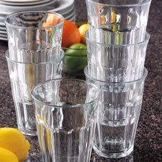Amazon.com   Duralex Made In France Picardie Clear Tumbler, Set of 6, 17.6 oz.: Drinking Glasses: Tumblers