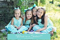 """""""What is a Sister""""  A sister is never appreciated until someone goes to college. Whether you grew up with sisters or are raising sisters now, you'll appreciate the humor and sentimentality of this inside look into the world's juiciest relationship."""