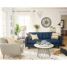 Having small living room can be one of all your problem about decoration home. To solve that, you will create the illusion of a larger space and painting your small living room with bright colors c… Blue Couch Living Room, Home Living Room, Room Design, Global Living Room, Living Room Diy, Coastal Living Rooms, Blue Couch Living, Couches Living Room, Living Decor