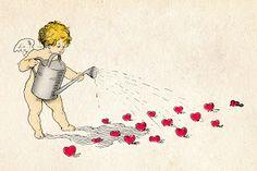 Free vintage clip art images: Vintage cherubs for DIY Valentine's Day cards