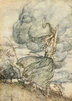 "'When the storm threatened to burst on their heads, she uttered a laughing reproof to the clouds. ""Come, come,"" saith she, ""look to it that you wet us not."" Illustration by Arthur Rackham (1867-1939) taken from 'Undine' by De  La Motte-Fouque adapted from the German by W. L. Courtney. Published 1919 by Heinemann. New York Public Libraryarchive.org"