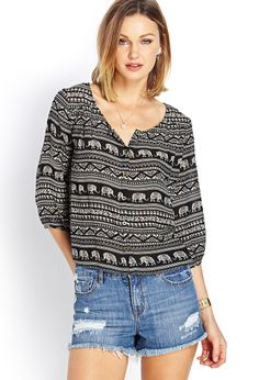 Elephant Parade Woven Top | FOREVER21 - 2000071019