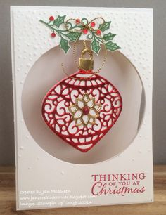 Christmas Card using Stampin Up's Embellished Ornaments by Jan McQueen. www.janscreativecorner.blogspot.com