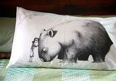 love this pillowcase.Its a giant wombat! Yellow Moon, Quokka, Maneki Neko, Wombat, Happy Animals, Animals Of The World, Kid Beds, Cartoon Drawings, Bed Pillows