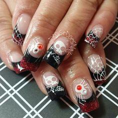White Spiders- halloween nails #nailart