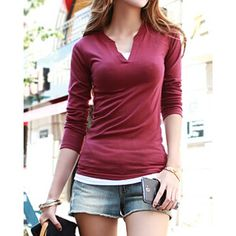 Wholesale Casual V-Neck Solid Color T-Shirt For Women Only $4.17 Drop Shipping | TrendsGal.com