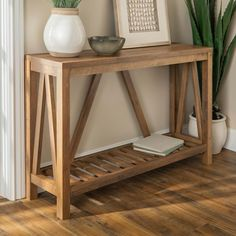 Walker Edison Furniture Company 52 in. Rustic Oak A-Frame Rustic Entry Console Table - The Home Depot Walker Edison Furniture Company 52 in. Rustic Oak A-Frame Rustic Entry Console Table Entryway Console Table, Entry Tables, Sofa Tables, Diy Entryway Table, Entrance Table Decor, Wood Entry Table, Wood Sofa Table, Rustic Console Tables, Rustic Entryway