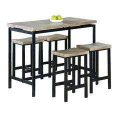 Clarion Piece Square Pedestal Pub Table Set By Bernards Home - Square pedestal pub table
