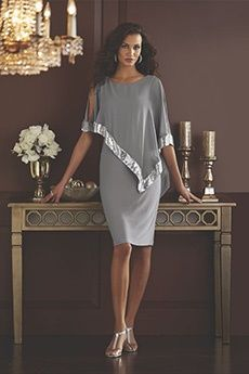 Sheath/Column Scoop Knee-length Chiffon Mother of the Bride Dress