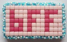 Zelfgemaakte Pixelhobby versiering 'Best Friends Forever' roze 3 stuks 3,5 x 2,1 cm met een Foam Clay randje.