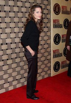 Angelina Jolie during 'Hotel Rwanda' Los Angeles Premiere - Arrivals at Academy Theatre in Beverly Hills, California, United States. (Photo by Jon Kopaloff/FilmMagic) via @AOL_Lifestyle Read more: https://www.aol.com/article/lifestyle/2018/01/10/angelina-jolies-complete-style-transformation/23330132/?a_dgi=aolshare_pinterest#fullscreen