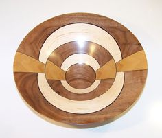 Walnut and Maple with Bamboo Wooden Bowl 601 by woodbeginnings