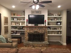 Built In Shelves Around Fireplace Plans - Stacked Rock Fireplace Barnwood Mantel Shiplap top with Bookshelves Around Fireplace, Built In Around Fireplace, Tv Above Fireplace, Fireplace Built Ins, Bookshelves Built In, Fireplace Surrounds, Fireplace Design, Fireplace Ideas, Fireplace Mantel