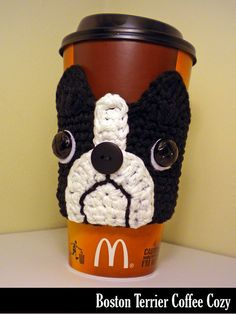 Handmade Coffee Cozy - for Boston Terrier Lovers! Great stocking stuffer. Genuine leather buttons for the eyes, 100% cotton yarns, my own original design. Hand crocheted and ready to ship!