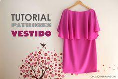 DIY ropa, como hacer tu misma este vestido con capa de mujer paso a paso. La costura es muy sencilla!!!! Los patrones los tenéis disponibles y gratis en el b...