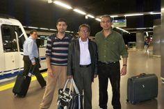 Buenazos amigos, Alvaro Guerra y Alfredo Robles en el metro camino al aeropuerto.
