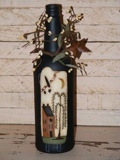 Primitive Decor-Handpainted Wine Bottle with a prim sheep, saltbox house, & a weeping willow Wine Bottle Art, Painted Wine Bottles, Painted Jars, Painted Wine Glasses, Wine Bottle Crafts, Glass Bottles, Pintura Country, Arte Country, Country Crafts