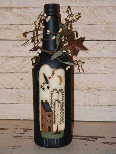 Primitive DecorHandpainted Wine Bottle with a prim by theprimplace