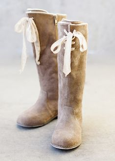 Lacy boot in tan - Designer childrens shoes by Joyfolie Lacey Boot in Tan Suede for girls in New Zealand | Return To Eden Children's Boutique