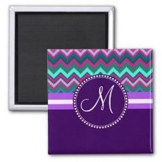 Monogram Aqua Teal Blue Pink Tribal Chevron Zigzag Refrigerator Magnets #SOLD on #Zazzle