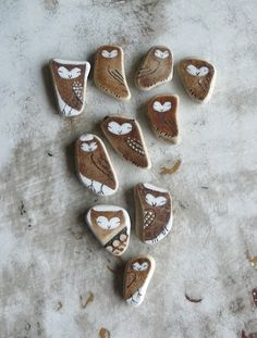 Oh my - wish I could afford these! Brown Beach Pottery Collection of Ten  Tiny Owls by LillaJizo, $80.00