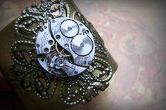 Large Brass Steampunk Cuff Bracelet Clockworks Vintage Watch Movement