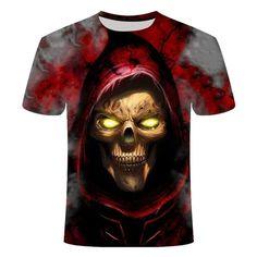 Red Skull Reaper T-Shirt | Skullflow Skull Hoodie, Skull Shirts, 3d T Shirts, Funny Tshirts, Skull Print, Summer Tshirts, Bunt, Casual Shirts, Men Casual