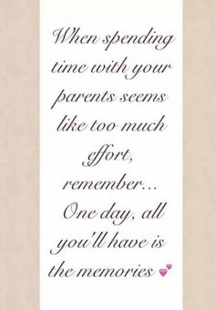 Spending time with your parents