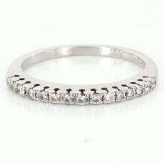 Vintage 18 Karat White Gold Diamond Dome Stack Band Ring Fine Estate Jewelry