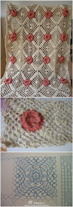 Rose afghan crochet chart THIS WOULD BE LOVELY AS A BEDSPREAD WITH SIZE 10 THREAD M