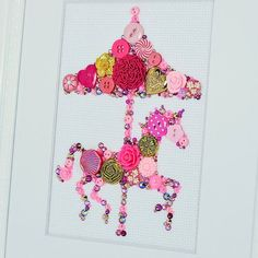Button Art Pink Carousel Horse by PaintedWithButtons